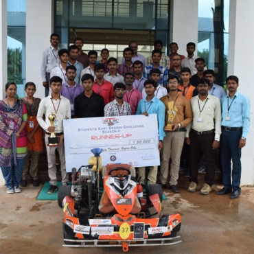 """Mechanical Engineering students team(of 23 students) secured overall second place  Rs. 50,000 in the contest  """"Students Kart Design Challenge"""" SKDC  Gokart (Racing car)  held at Hasten Go Karting Track, Kuramguda, Hyderabad and first prize Rs. 15,000 in """"Endurance and Fuel Economy""""."""