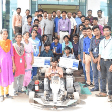 """Mechanical, EEE & ECE Students Team (26 students) innovated Electrical Kart and won National Level second place and state level first place of Rs 25,000 in the contest """"Bharath Formula Karting"""" powered by CAD technology at Coimbatore. The team has also secured first prize Rs 10,000 in """"Best innovation""""."""